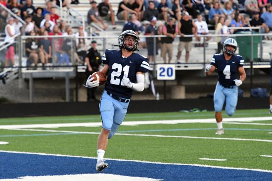 Tyler Kestranek with a 65 yard interception scores the first TD of the evening vs. West Geauga