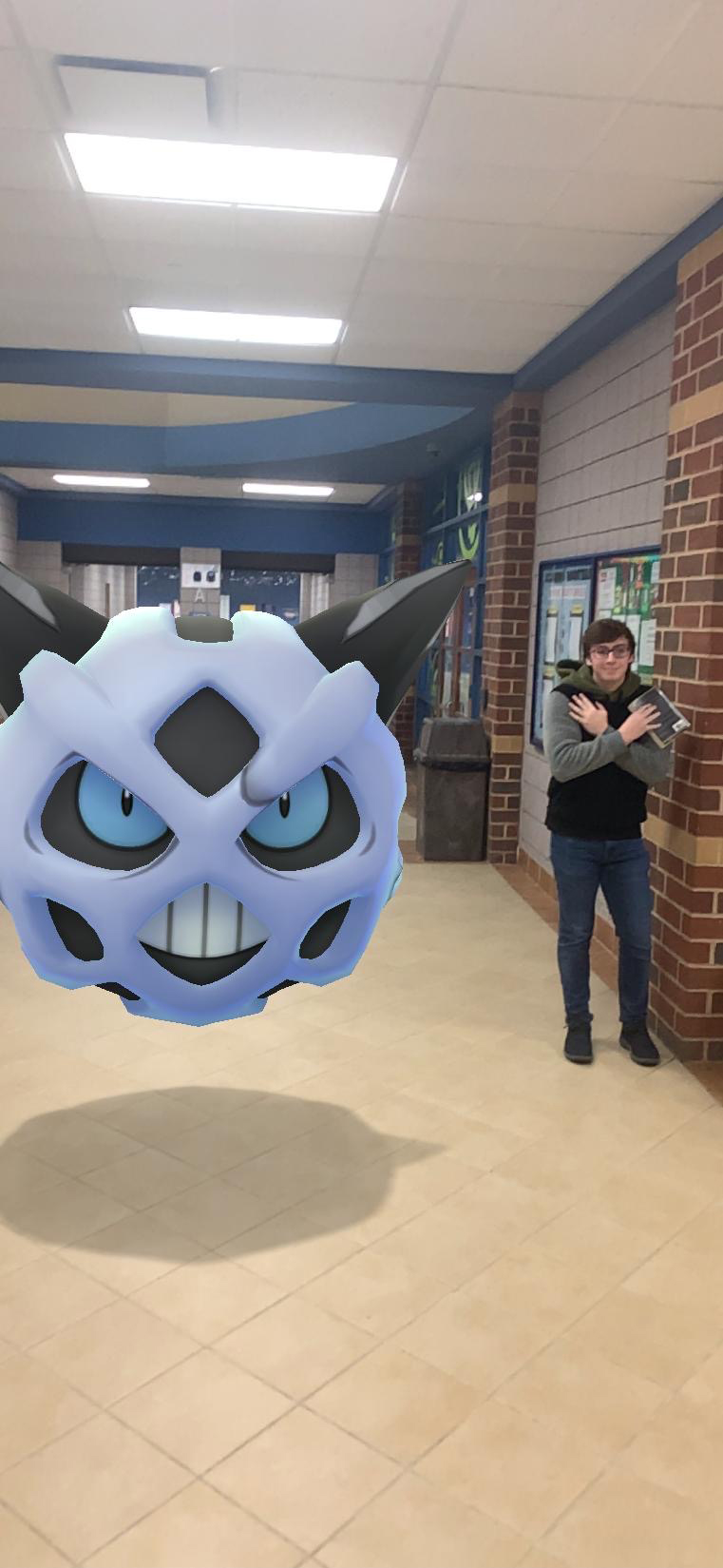 Luke Haas shivering in the hallways because of Glalie's freezing cold presence!