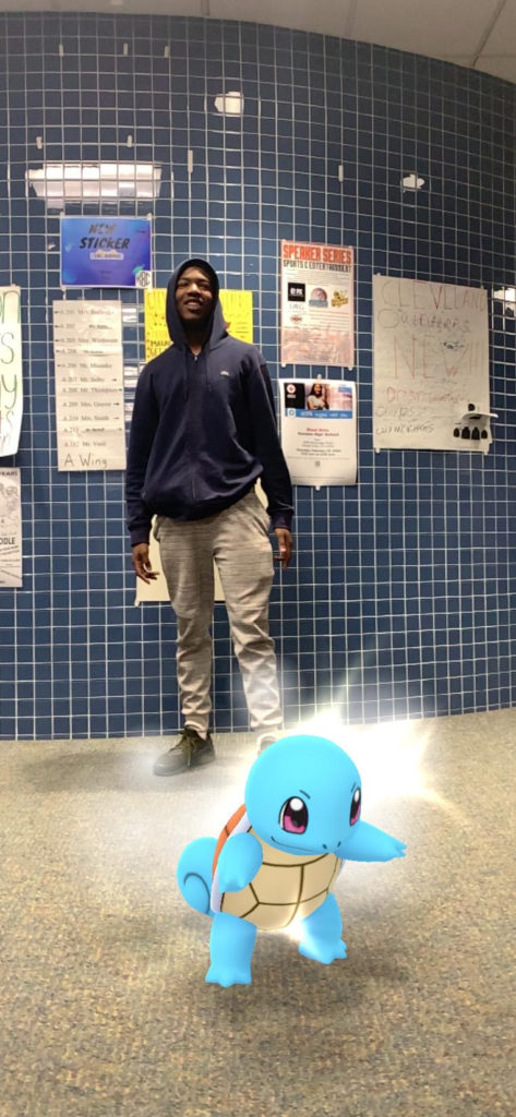 Eric and his spirit animal squirtle trying to find their way through the school.