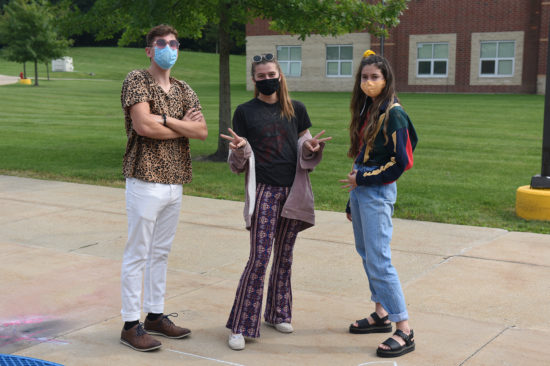 Students dressed in decades day outfits