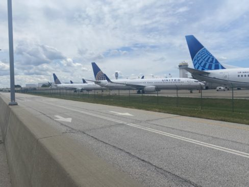 United 737-924ERs sit in storage at Cleveland Hopkins International Airport